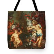 Children Playing With Flowers Tote Bag