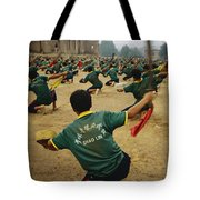 Children Practice Kung Fu In A Field Tote Bag