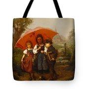 Children Under A Red Umbrella Tote Bag