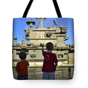 Children Wave As Uss Ronald Reagan Tote Bag by Stocktrek Images