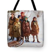 Children With A Sled Nikolai Petrovich Bogdanov-belsky Tote Bag
