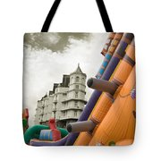 Childrens Play Areas Contrast With The Victorian Elegance Of The Grand Hotel In Llandudno Wales Uk Tote Bag
