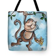 Childrens Whimsical Nursery Art Original Monkey Painting Monkey Buttons By Madart Tote Bag