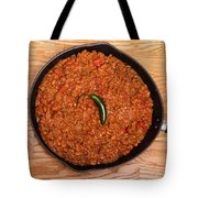 Chili In Black Pan On Wood Table With Jalapeno Pepper Tote Bag