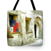 Chilli Peppers And Onions Hanging On The Wall Tote Bag