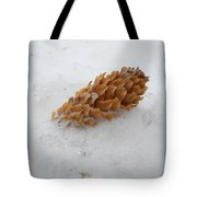 Chilly Pine Cone In Snow Tote Bag