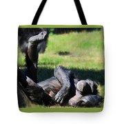 Chimp Sunbathing Tote Bag