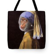 Chimp With A Pearl Earring Tote Bag
