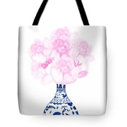 China Blue Ming Vase With Peony Tote Bag