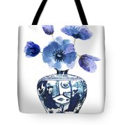 China Blue Vase  With Poppy Flower Tote Bag