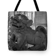 Chinese Guardian Female Lion B W Tote Bag