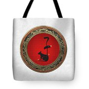 Chinese Zodiac - Year Of The Rat On White Leather Tote Bag