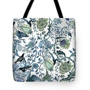 Chinoiserie Blue Tote Bag