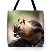 Chipmunk Eating A Piece Of Blue Candy Tote Bag