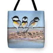 Chirpy Chickadees Tote Bag