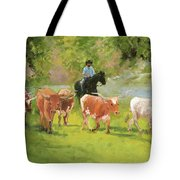 Chisholm Trail Texas Longhorn Cattle Drive Oil Painting By Kmcelwaine Tote Bag
