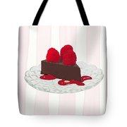 Chocolate Cake On Pink Stripes Tote Bag