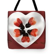Chocolate Dipped Heart Shaped Strawberries On Heart Shape White Plate Tote Bag