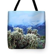 Cholla Cactus And Superstition Mountains Tote Bag