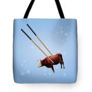 Chopsticks Cow Blue Stars Tote Bag