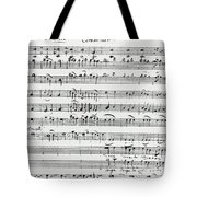 Chorus Of Shepherds, Handwritten Score Of The Opera Ascanio In Alba Tote Bag
