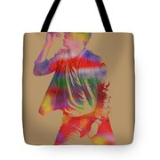 Chris Martin Coldplay Watercolor Portrait On Worn Distressed Canvas Tote Bag by Design Turnpike