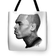 Chris Brown Drawing By Sofia Furniel Tote Bag