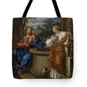 Christ And The Woman Of Samaria Tote Bag