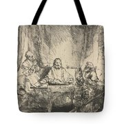 Christ At Emmaus: The Larger Plate Tote Bag