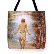 Christ Baptised By John The Baptist Tote Bag