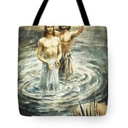 Christ Being Baptised Tote Bag