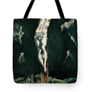 Christ Crucified With Toledo In The Background Tote Bag