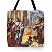 Christ Healing The Blind 1578 Tote Bag