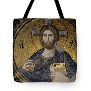 Christ Holds Bible In Mosaic At Chora Church Istanbul Turkey Tote Bag