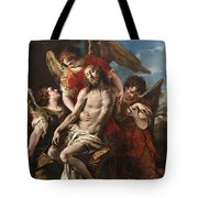 Christ Mourned By Three Angels Tote Bag