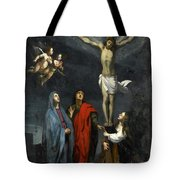 Christ On The Cross With Saint John And Mary Magdalene Tote Bag