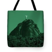 Christ The Redeemer In Green Sky Tote Bag