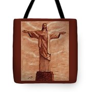 Christ The Redeemer Statue Original Coffee Painting Tote Bag