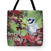 Christmas And Blue Jay Tote Bag