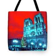 Christmas At Notre Dame Pop Art Tote Bag