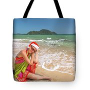 Christmas At Tropics Tote Bag by Benny Marty