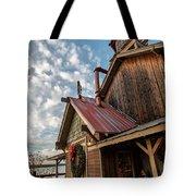 Christmas Barn On The Lake Tote Bag