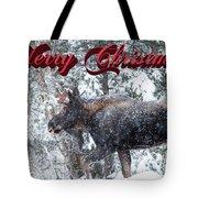 Christmas Bull Moose Tote Bag
