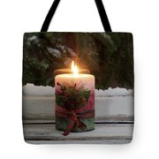 Christmas Candle Glowing On Window Sill With Snowy Evergreen Bra Tote Bag