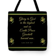 Christmas Card With Scripture - Luke 2 14 Tote Bag