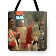 Christmas Celebration At Nativity Church Tote Bag