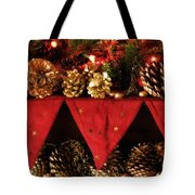 Christmas Decorations Of Garlands And Pine Cones Tote Bag