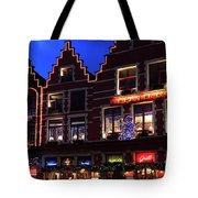 Christmas Decorations On Buildings In Bruges City Tote Bag