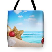 Christmas Decorations On The Beach Tote Bag