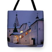 Christmas Evening Light In The Temple Suzdal Tote Bag